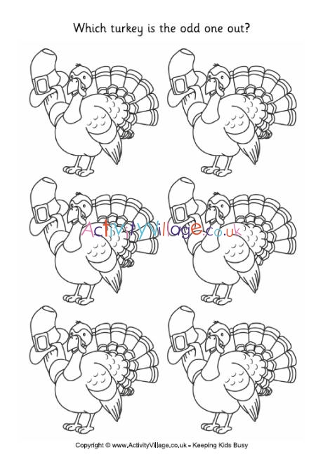 Turkey Odd One Out Free Thanksgiving Coloring Pages Thanksgiving Coloring Pages Thanksgiving Puzzle