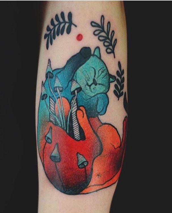 Joanna Swirska Dzo Lama Cat Tattoo If You Look Closely You Can - Polish artist creates elegant animal tattoos finished in vibrant colours