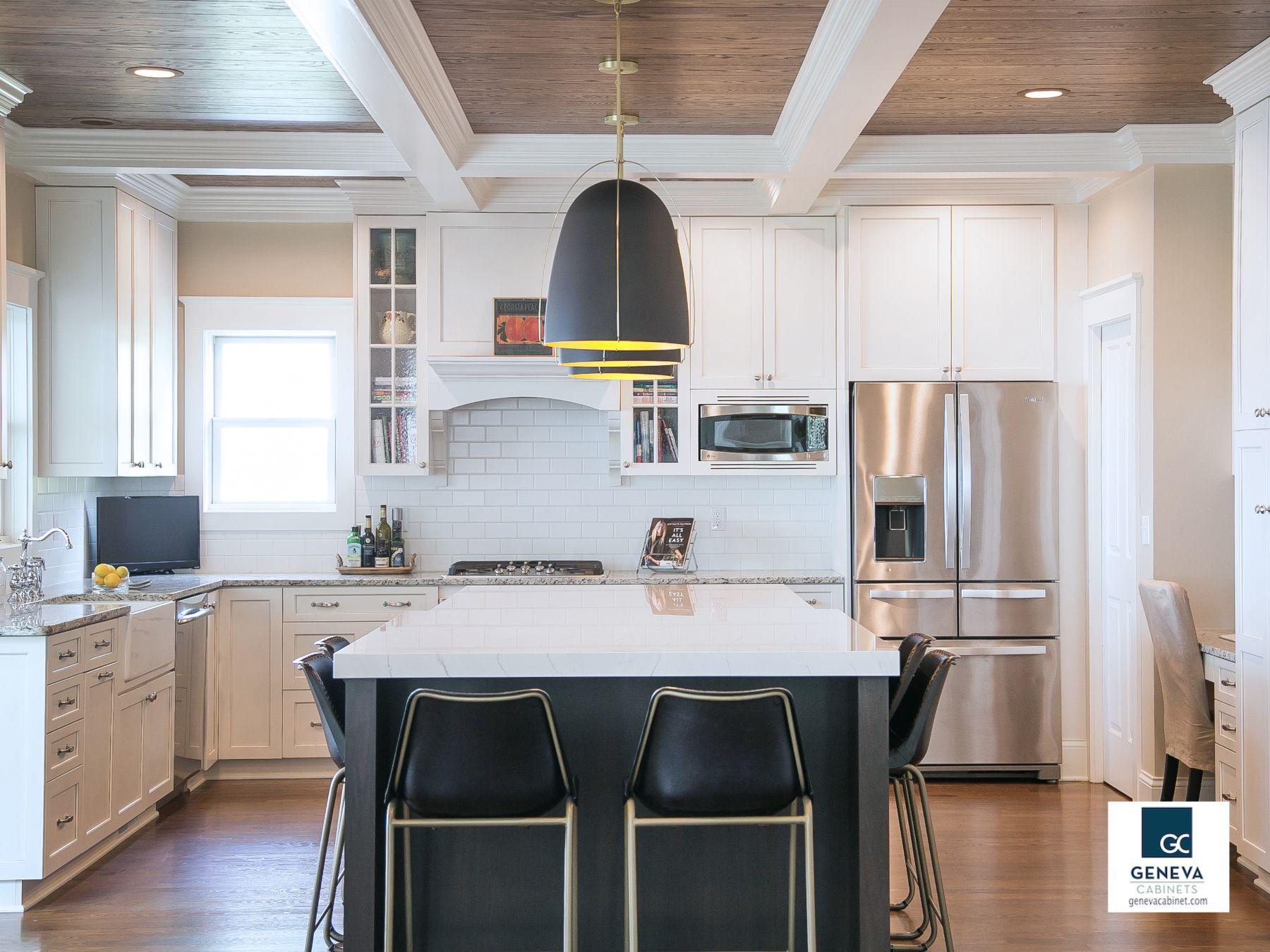 New Kitchen Island Transforms The Kitchen Geneva Cabinet Company Llc Contemporary Kitchen Tiles Portable Kitchen Island Small Condo Kitchen