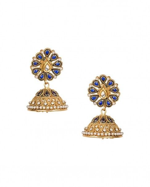 Golden Dome Earrings with Blue Floral Top Preeti Mohan Shop
