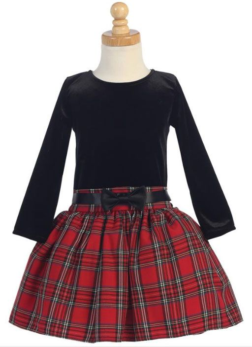 f1d82d2f2ebc Toddler and little girls will just love this red plaid drop waist dress for  the holidays! A soft black velvet top pairs perfectly with the attached red  ...