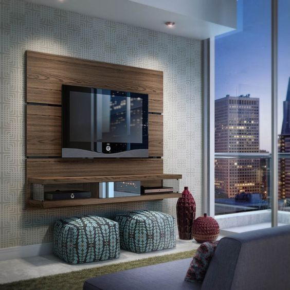 Wood Panel Wall Behind Tv: This Media Stand Comes With Built-in Brackets To