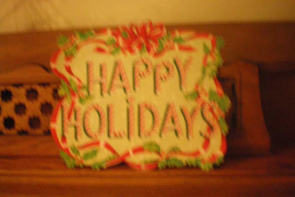 vintage die cut Christmas cardboard decoration Happy Holiday candycane