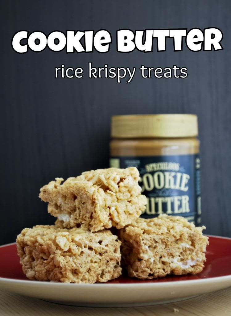 JUST learned about cookie butter.  you all are bad friends for not telling me sooner.  :)  Cookie Butter Rice Krispy Treats