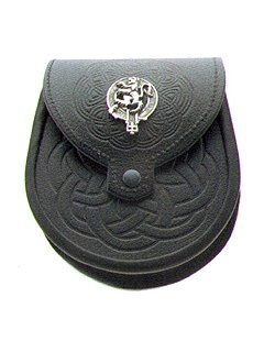 Celtic:  Glenmore - Clan Crested - Leather Sporran.