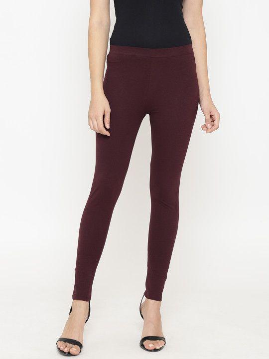 79c53c5d96451b OVS Women Burgundy Solid Leggings - | 719 | Leggings & Jeggings in ...