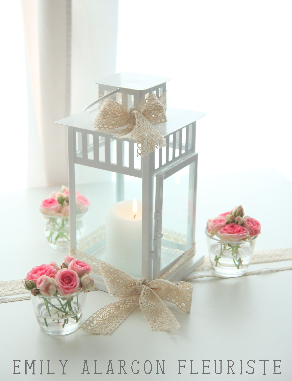 Centre de table lanterne romantique www.emily-alarcon-fleuriste.com ...