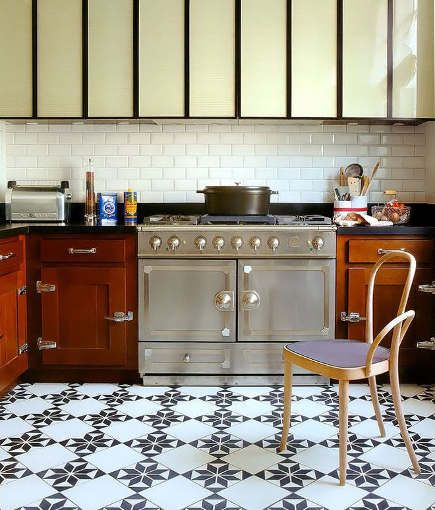 kitchen with black and white geometric checkerboard floor