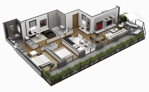 Planos 3d departamentos buscar con google planos 3d pinterest - Planos de casa en 3d ...