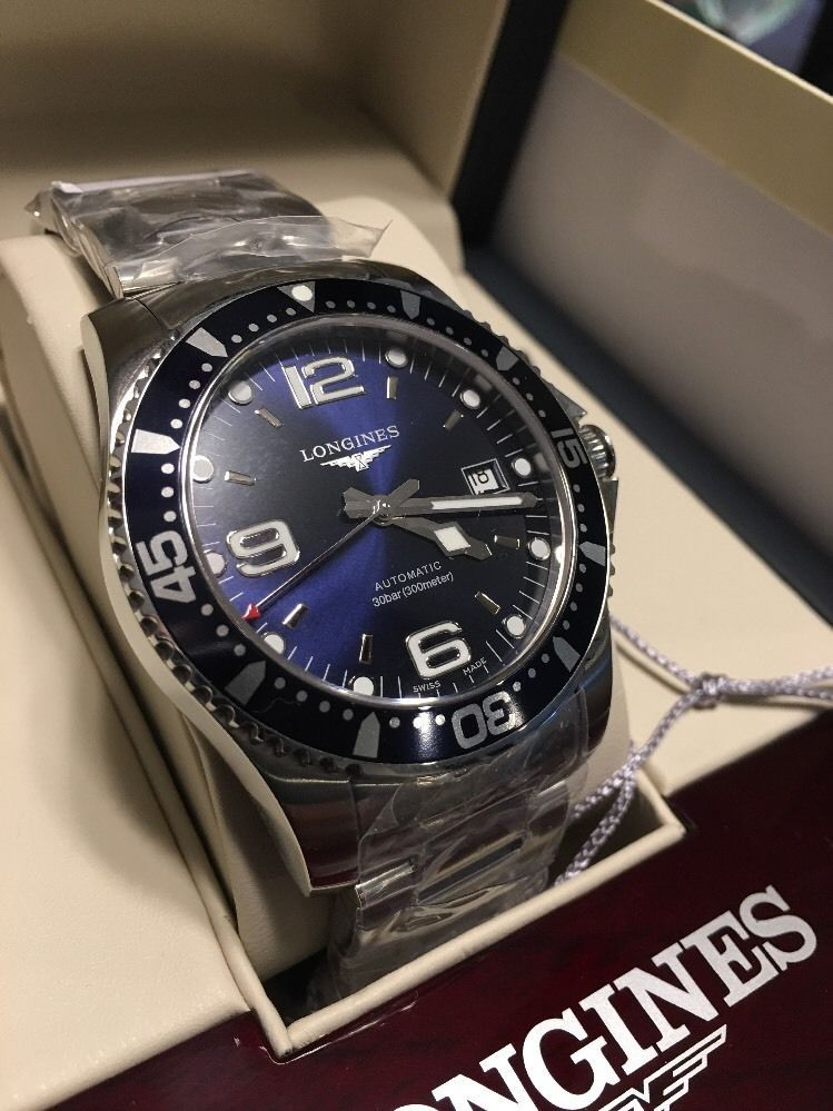 7bc2ce9158f Longines Hydroconquest Blue Dial Automatic Stainless Mens Watch  L36424966-NEW-