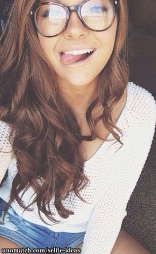 Curly Wavy Hair Glasses Tongue Smile Criss Crossed Summer Hair Styles Girl Women