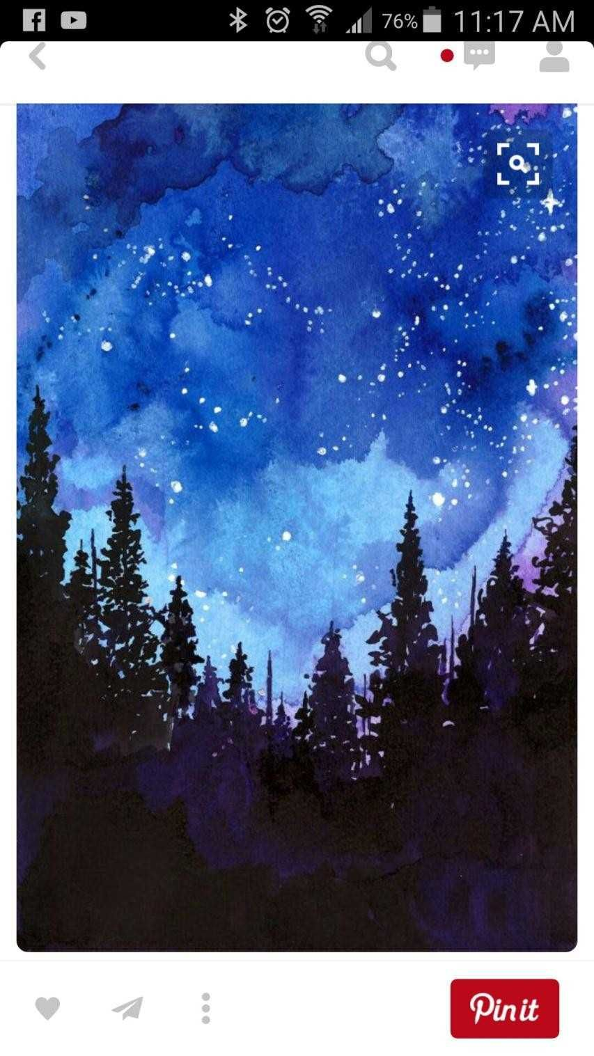 Easy Night Landscape Painting Design Watercolor Paintings Easy Watercolor Illustration Watercolor Paintings
