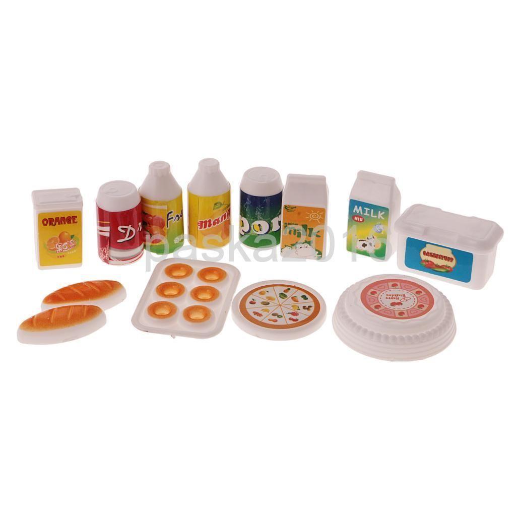 dollhouse miniature pcs kitchen food set juice milk drinks