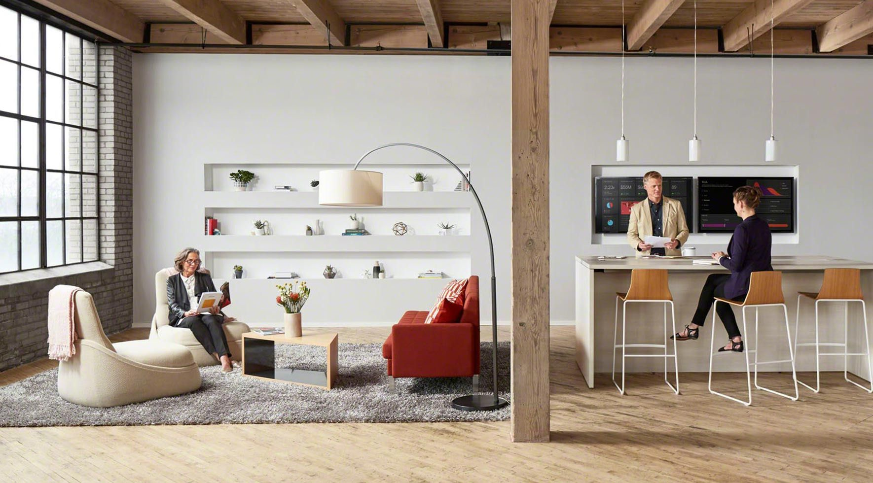 Coalesse Hosu Lounge, Millbrae Contract Lounge And Sebastopol Tables Create  A Lounge Space Adjacent To A Standing Height Table With Montara650 Stools.