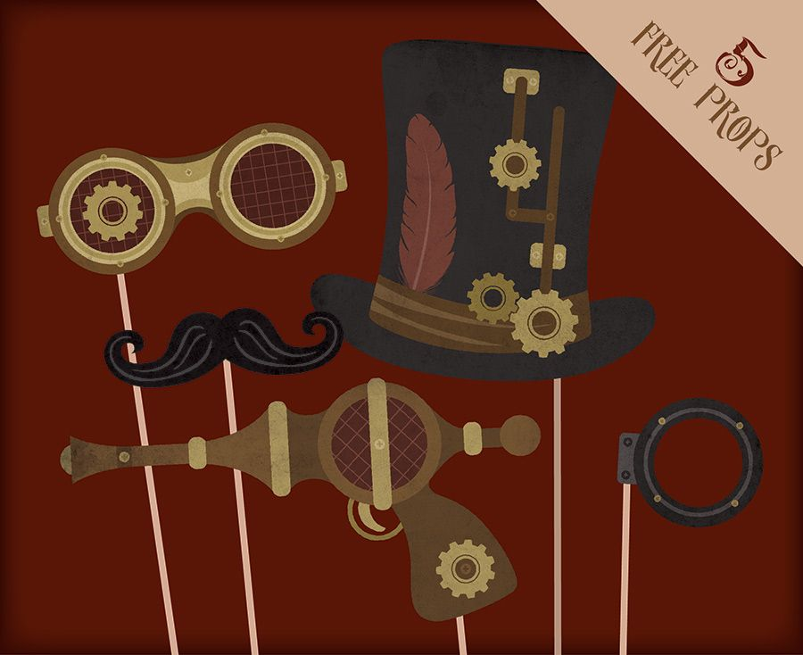 wedding photo booth props printable%0A Free Steampunk Printable Props for Photo Booths  Steampunk party supplies    Steampunk wedding freebie