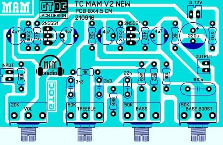 Pcb Tone Control Mam V2 New Electronics Circuit Electronic Circuit Design Audio Amplifier