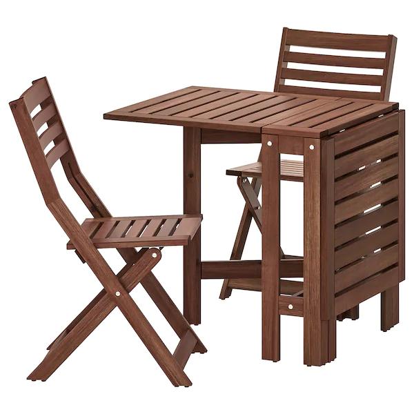 Applaro Table 2 Chaises Pliantes Exterieur Teinte Brun Chaise