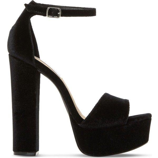 Steve Madden Gonzo sm velvet platform sandals ($100) ❤ liked on Polyvore  featuring shoes