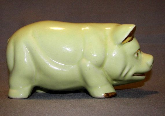 Adorable 1950's Vintage Green Ceramic Piggy Bank by ExpressionsPA