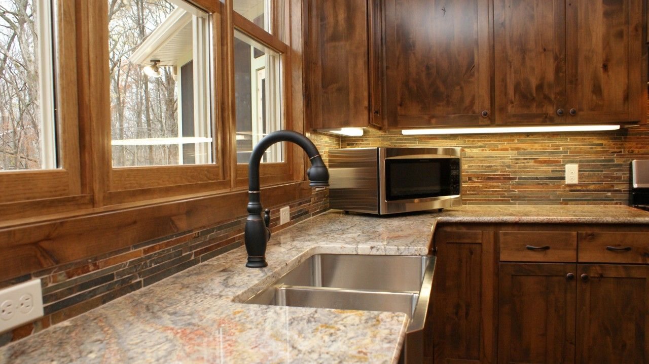 backsplash ideas for hickory cabinets - Google Search ...