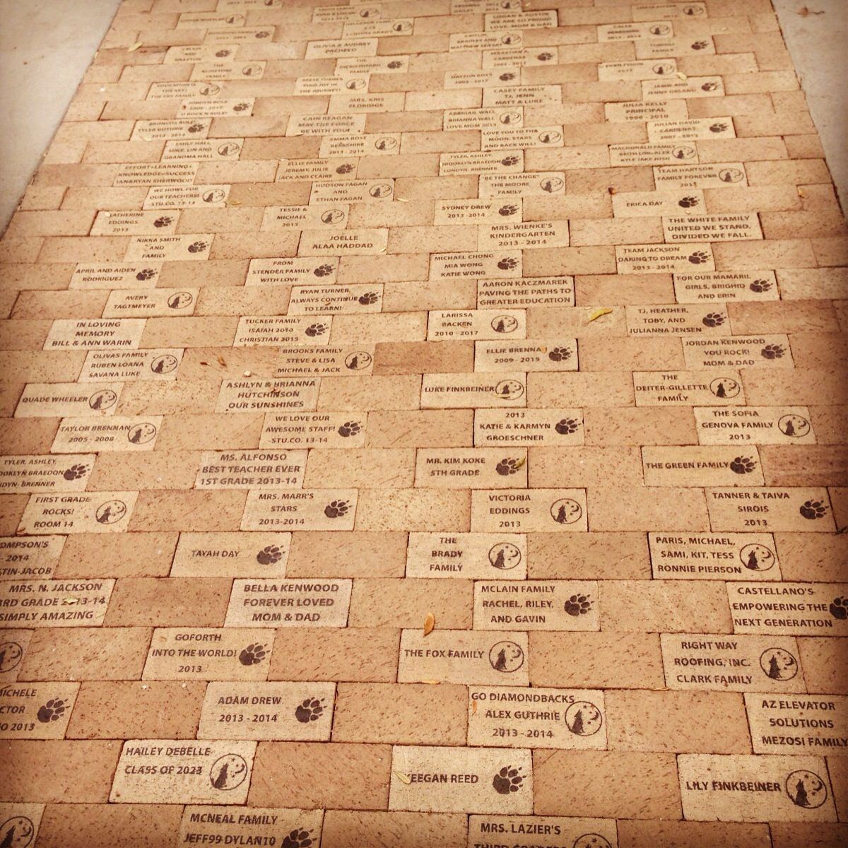 Fundraiser bricks installed for a school memorial. The students were ...
