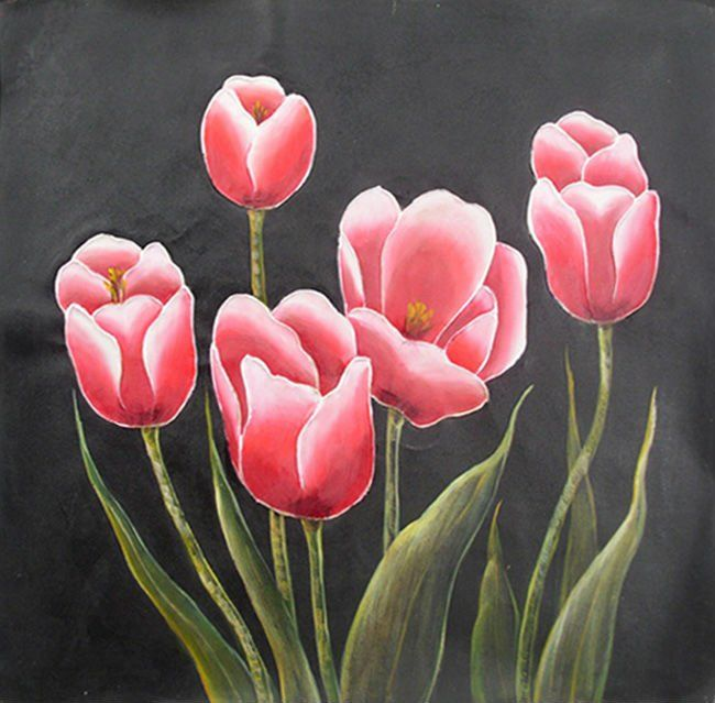 Easy flower paintings on canvas 100 handmade flower oil for Easy way to paint flowers
