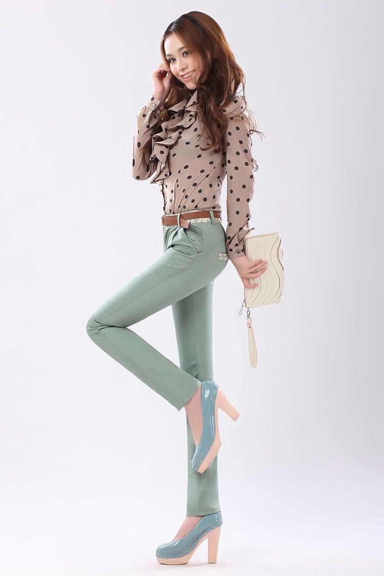 Korean Ladies Cotton Lace Long Casual Pants GREEN with Belt (SIZE:M ...