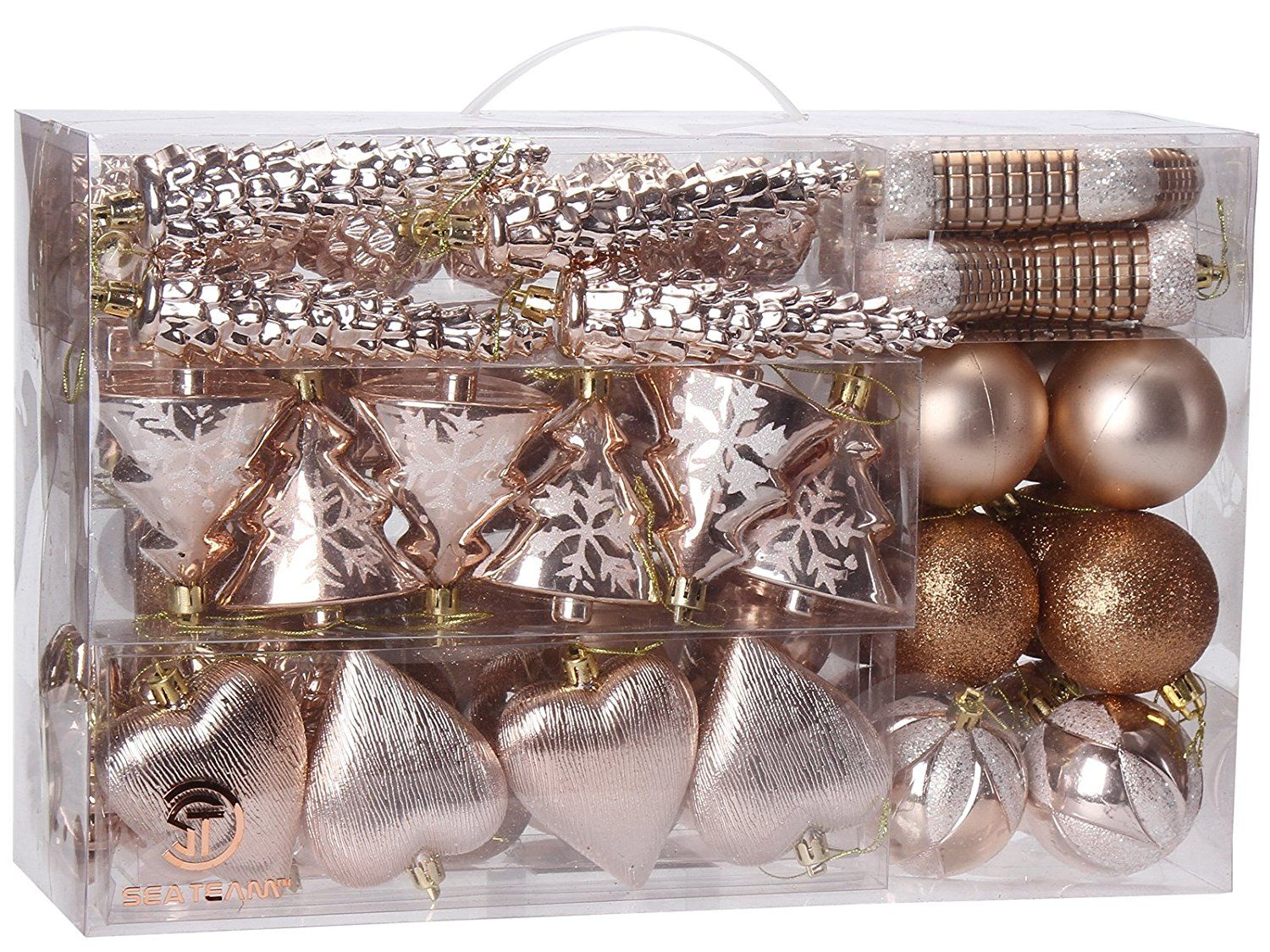 Sea Team 72 Pack Assorted Shatterproof Christmas Balls Christmas Ornaments Set Decorative Rose Gold Christmas Tree Rose Gold Christmas Christmas Ornament Sets