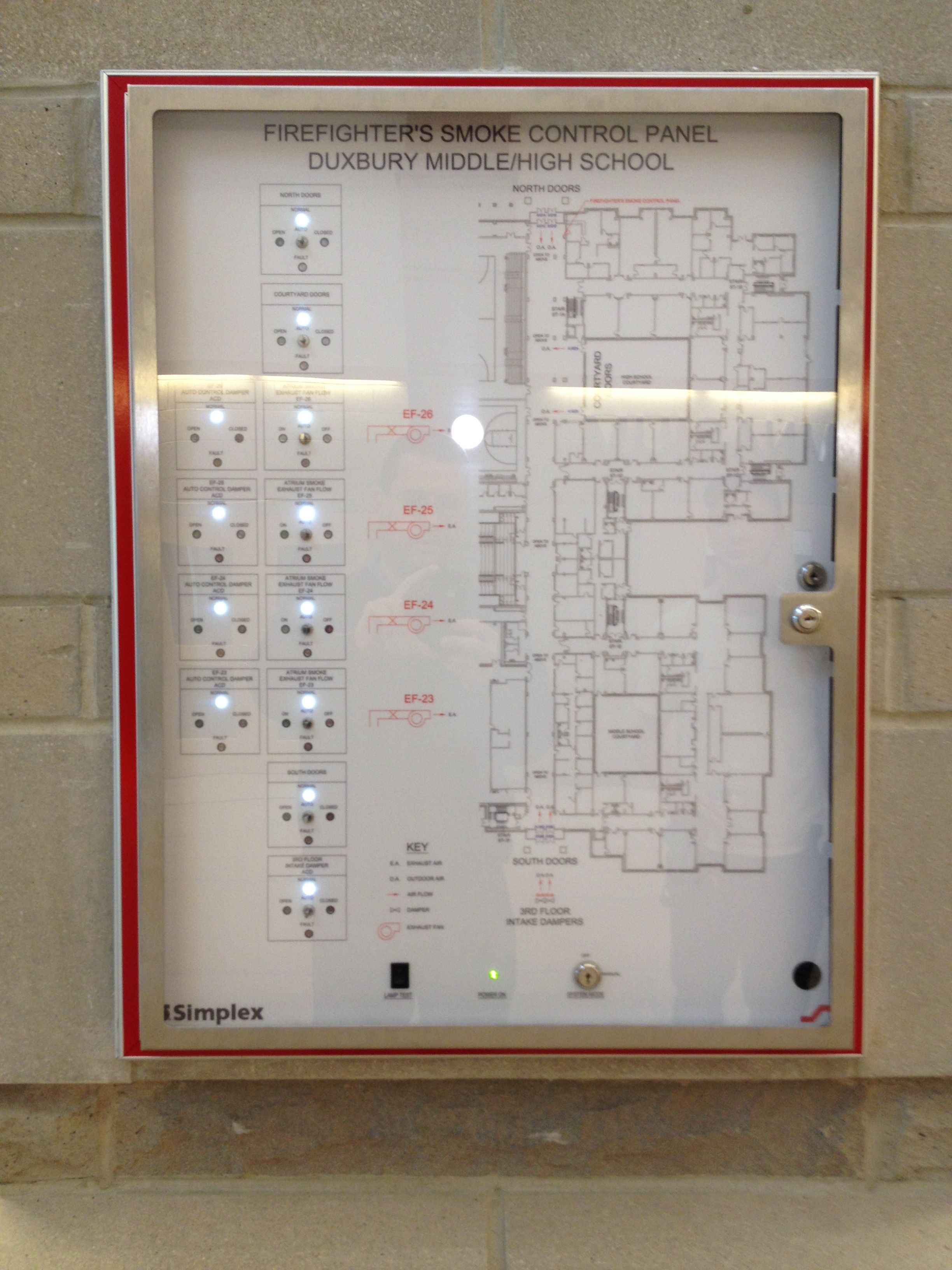 Smoke Control Panel at Duxbury Middle/High School now with