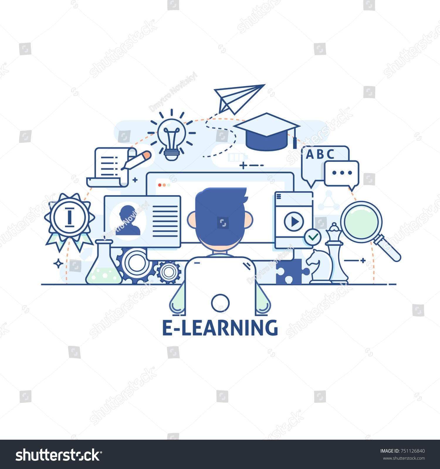 E Learning Online Education Concept Modern Thin Linear Stroke Vector Icons Concept Modern Education Learning Desain