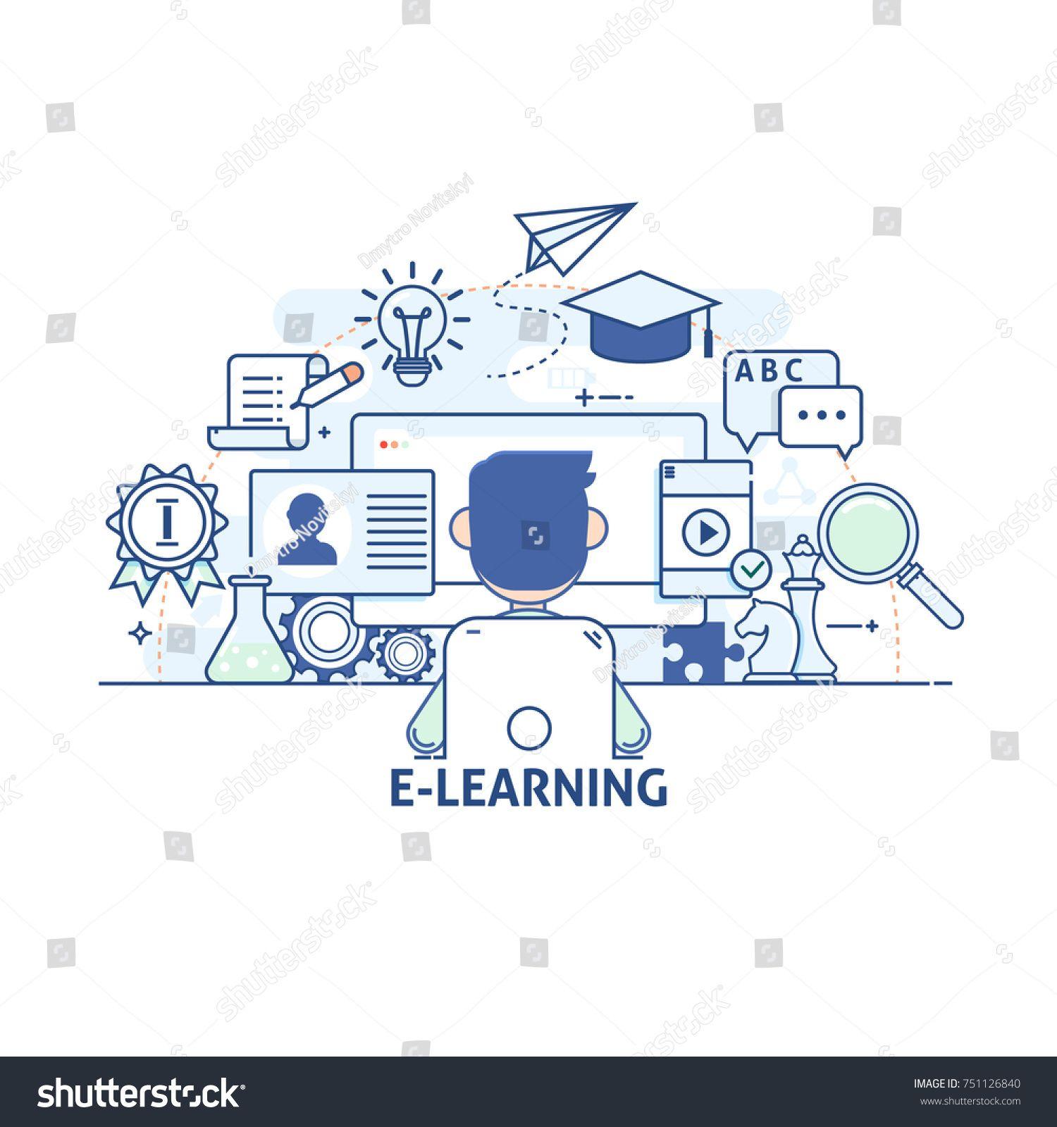 E Learning Online Education Concept Modern Thin Linear Stroke