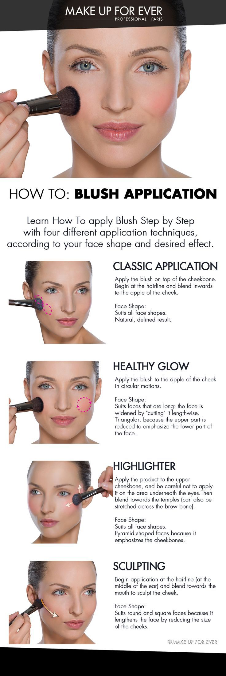 How To: Blush Application. Learn How To apply blush step by step with 4 different application techniques, according to your face shape and desired effect. #HowTo courtesy of #Makeupforever #Sephora #makeuptutorial #blush