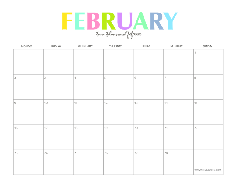 The Colorful  Monthly Calendars By ShiningmomCom Are Here