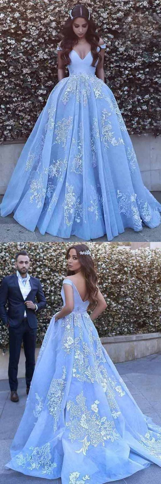 Blue off shoulder prom dress lace long prom dress aline prom