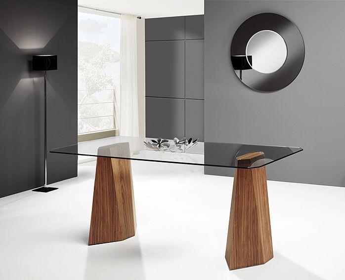 Mesa comedor kyos material madera de nogal mueble for Mesa comedor diseno cristal