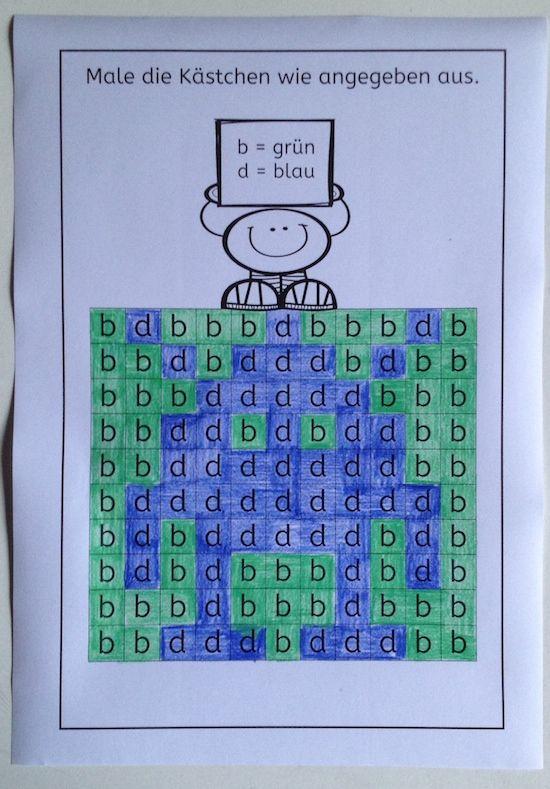 Buchstaben und Ziffern, Unterschied, b-d, a-o, u-n, 2-5, 9-6, 1-7 ...