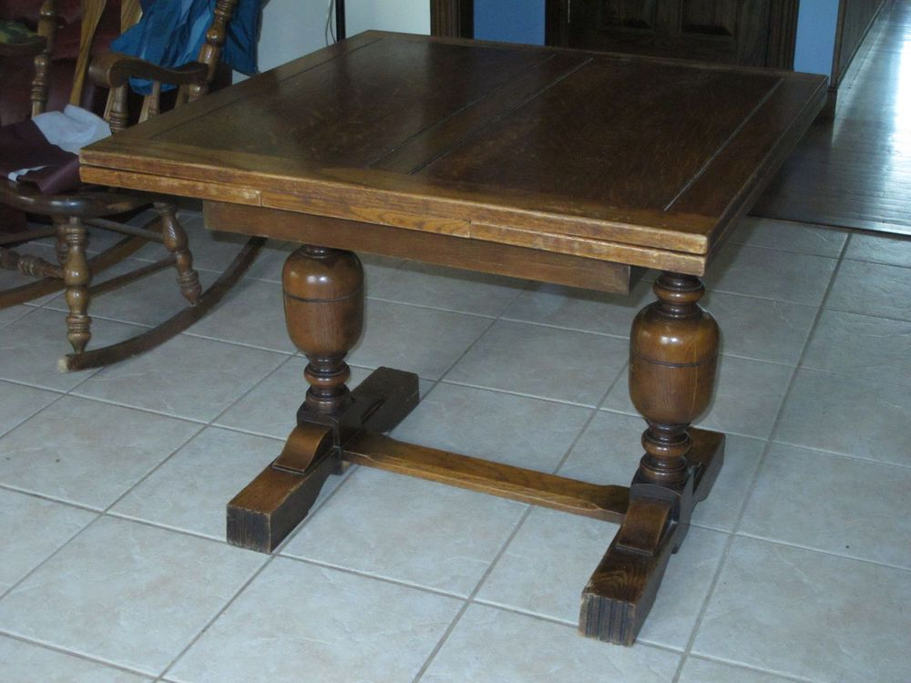Superior Pull Out Leaf Table Part - 14: Antique English Oak Draw Leaf Pub Dining Table