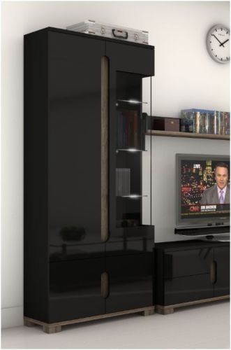 High Gloss Display Unit Glass Door Tall Cabinet Black Furniture Lounge LED  Light