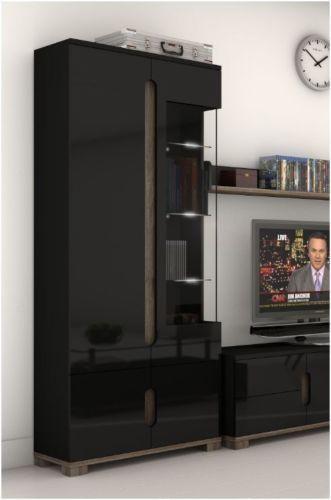 High Gloss Display Unit Glass Door Tall Cabinet Black ...