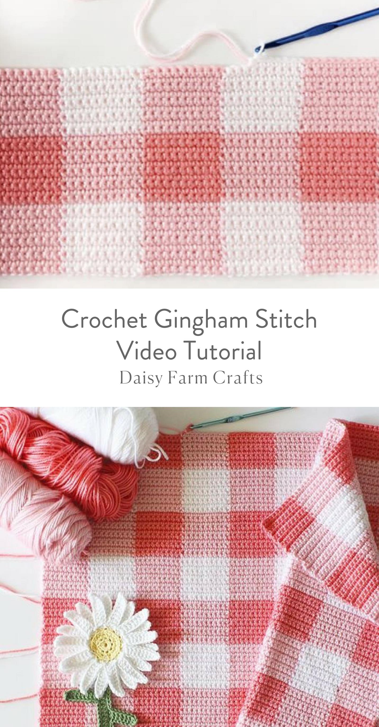 Crochet Gingham Stitch Video Tutorial Crochet Blanket Patterns Crochet Tutorial Crochet For Beginners Blanket