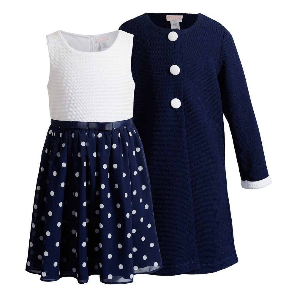 Give her a cute and classic look with this girls' Youngland polka-dot dress and coodinating coat set. In navy. Give her a cute and classic look with this girls' Youngland polka-dot dress and coodinating coat set. In navy. Button closure for coat Button closure Textured design Elastic waistband Fitted Knee length 2-piece set includes: dress & coat Polka-dot skirt FABRIC & CARE Polyester, spandex Machine wash Imported Size: 6. Gender: female. Age Group: kids. Pattern: Polka Dot.