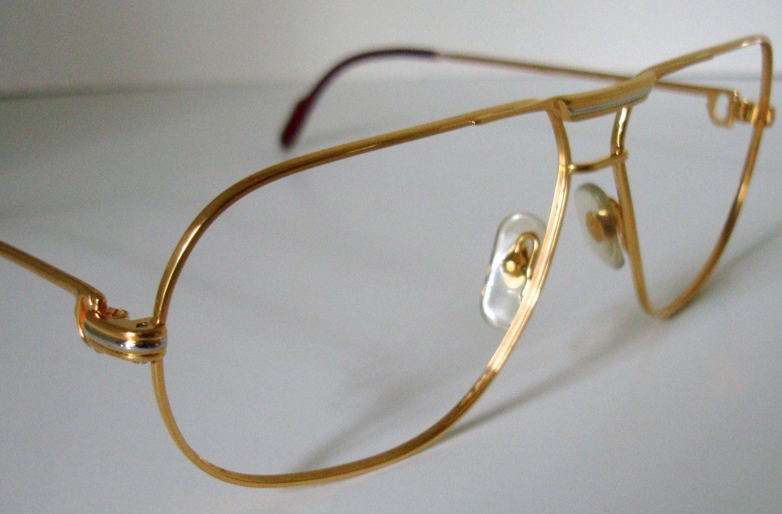 Vintage CARTIER Paris TANK Gold Men's Eyeglasses/Sunglasses Frame Made in France