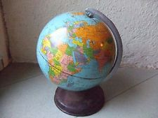 "Rare Ancien globe terrestre miniature mappemonde ""cartes Taride"" vintage 50's"