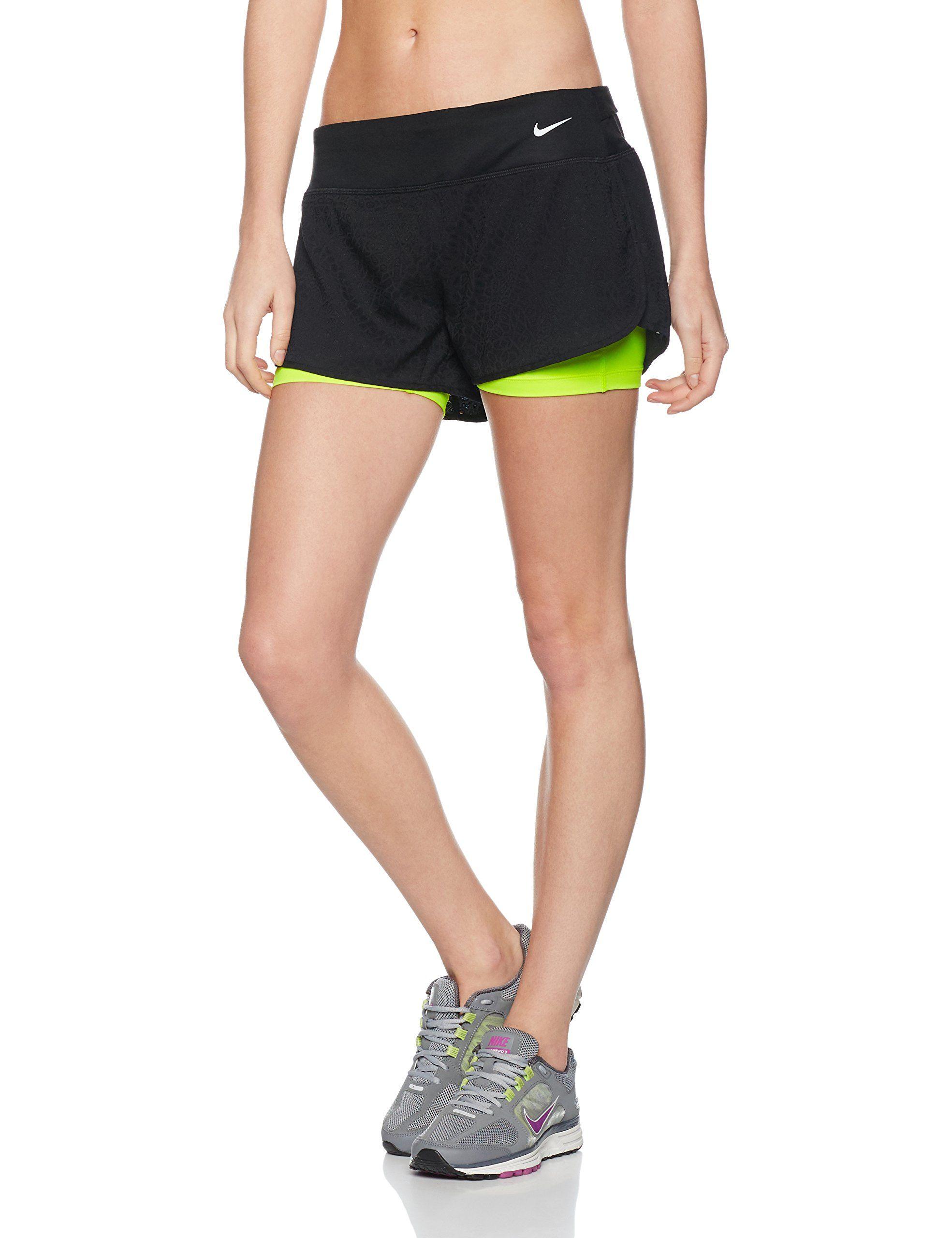 Nike 2in1 3 rival jacquard black womens running shorts