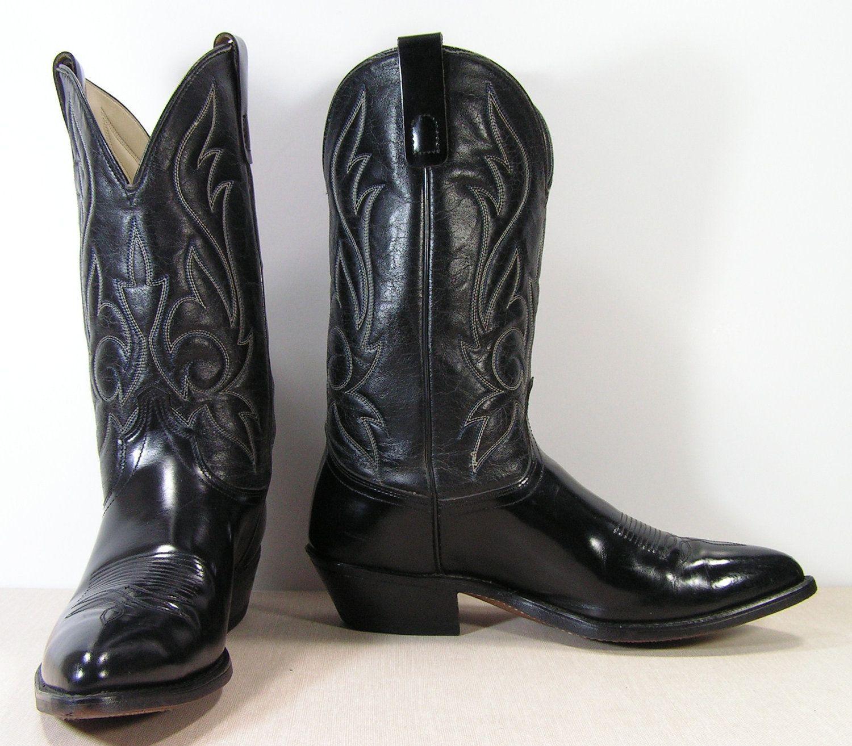 black cowboy boots mens 9.5 EE wide western vintage leather ...