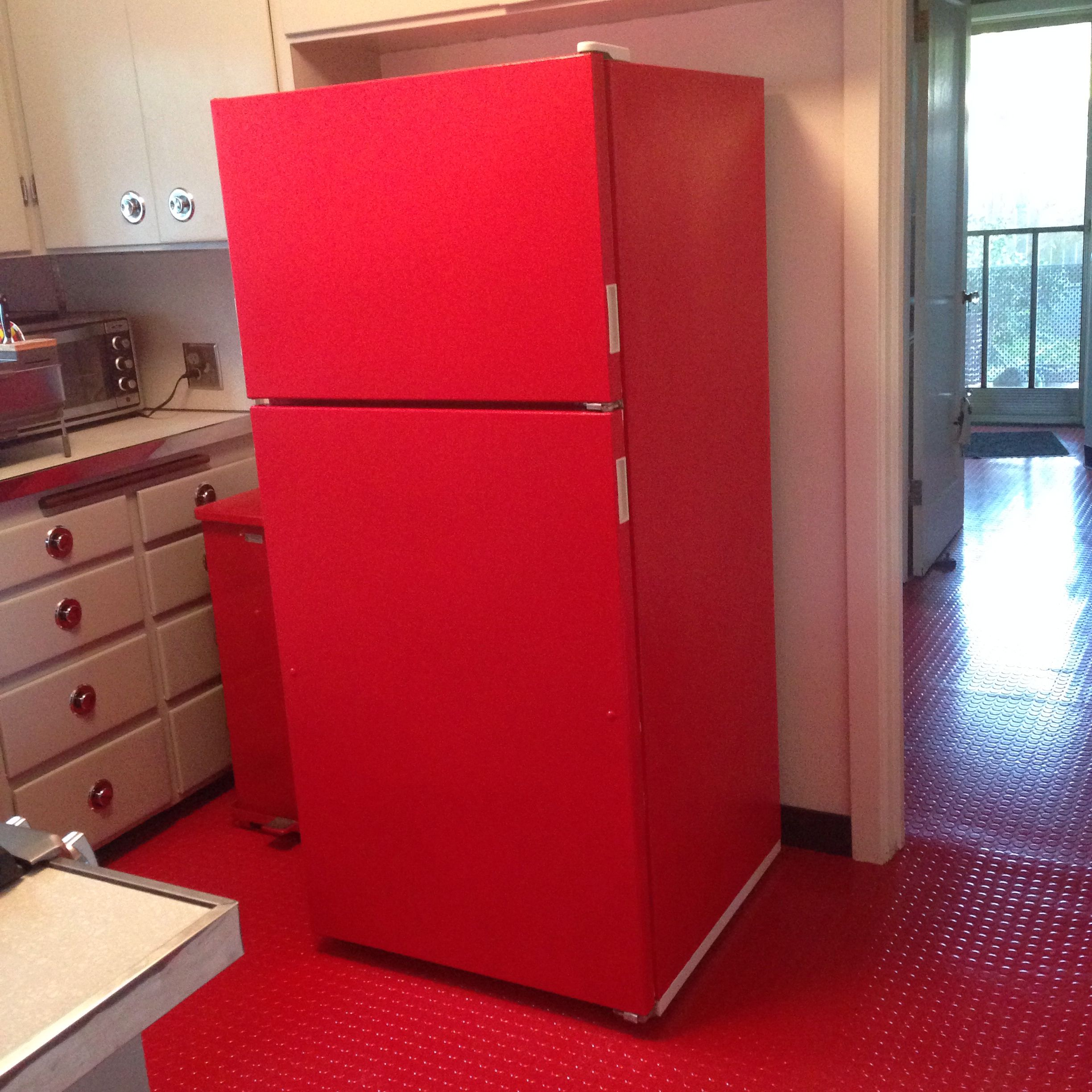 Is Semi Gloss Paint Best For Kitchen Cabinets: Painted The Fridge Red With Semi-gloss Interior Paint And