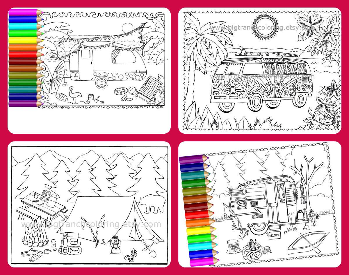 Camping Coloring Pages - Set of 4 - Colouring - Coloring for Grown ...