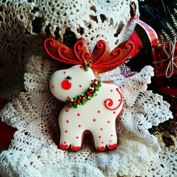 Christmas moose decorated gingerbread cookies Новий Рік - moose christmas decorations