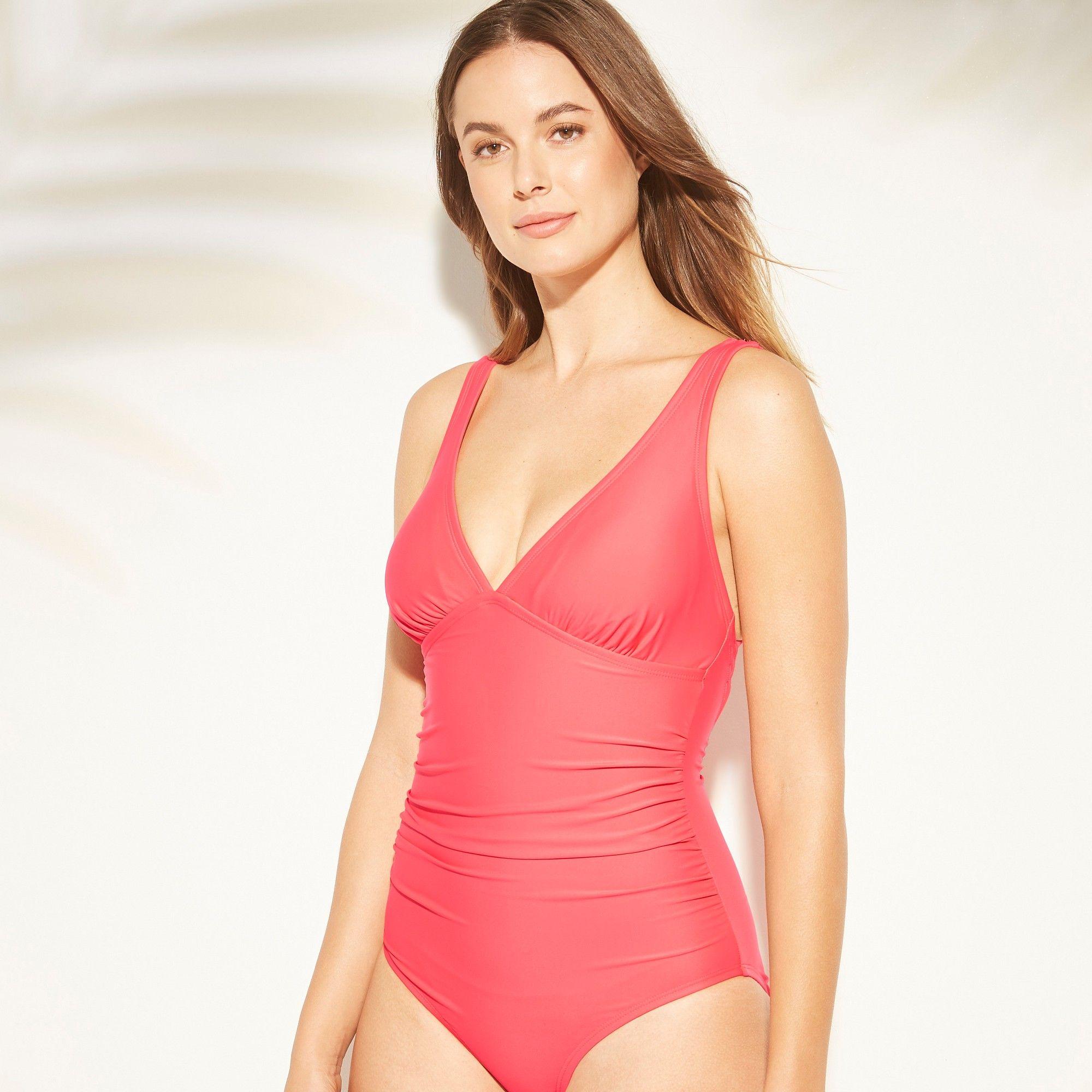 374bb497e74 Women's Tall/Long Torso Strappy Back One Piece Swimsuit - Kona Sol Blazing  Coral XL