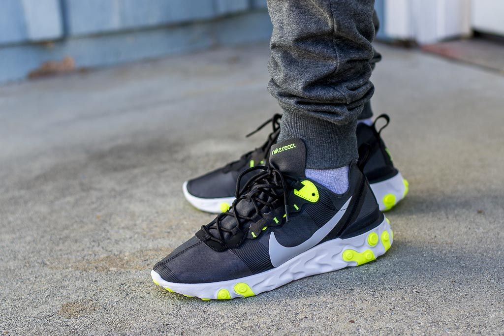 400a2a9c7c93 Nike React Element 55 Volt On Feet Sneaker Review